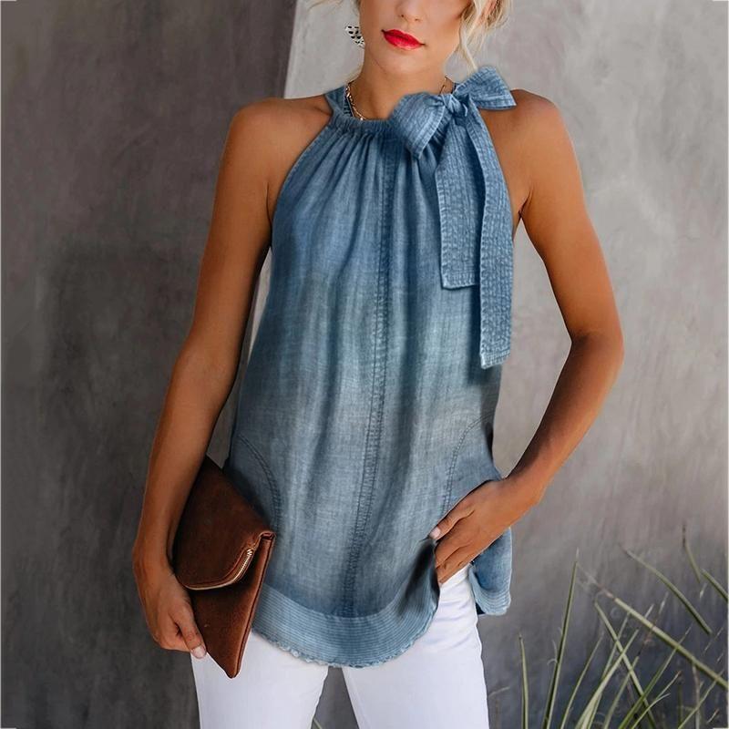 Photo of Casual Off-Shoulder Bowknot Denim Vest