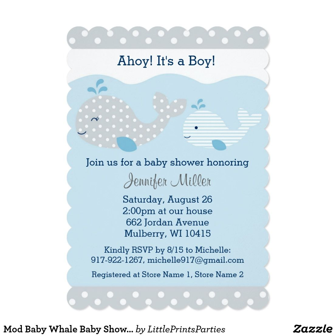 Cute Baby Blue & Grey Whale Baby Shower Card | Baby whale and Shower ...