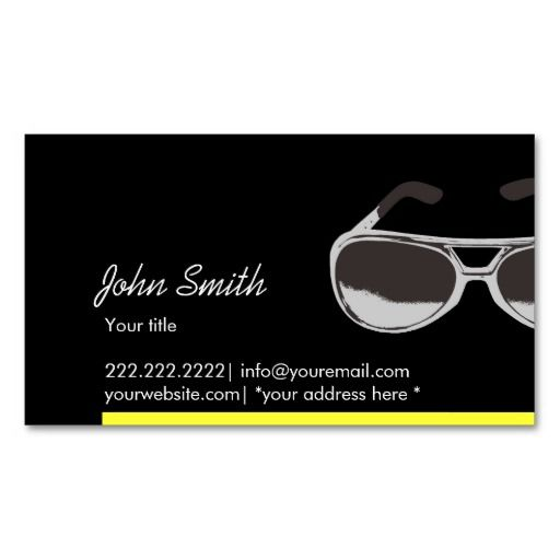 Modern yellow border sunglasses dark business card optometrist modern yellow border sunglasses dark business card colourmoves