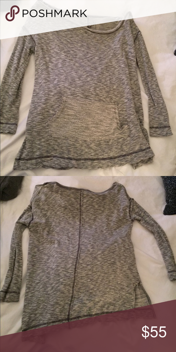 Free People grey pullover This is a free People grey pullover. Not super thick. Goes off the shoulders a little. Free People Tops Sweatshirts & Hoodies