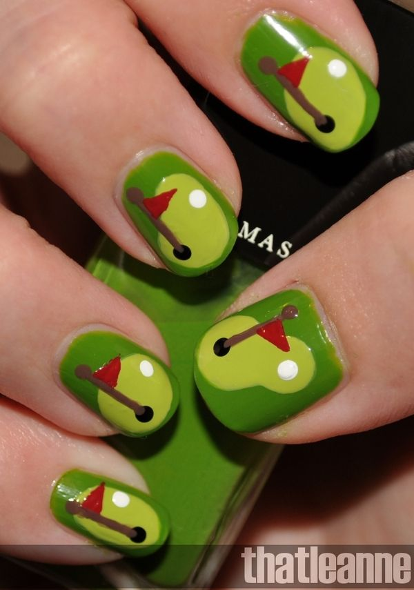 Golfing Nails..cute idea for fathers day :) since the hubs loves ...