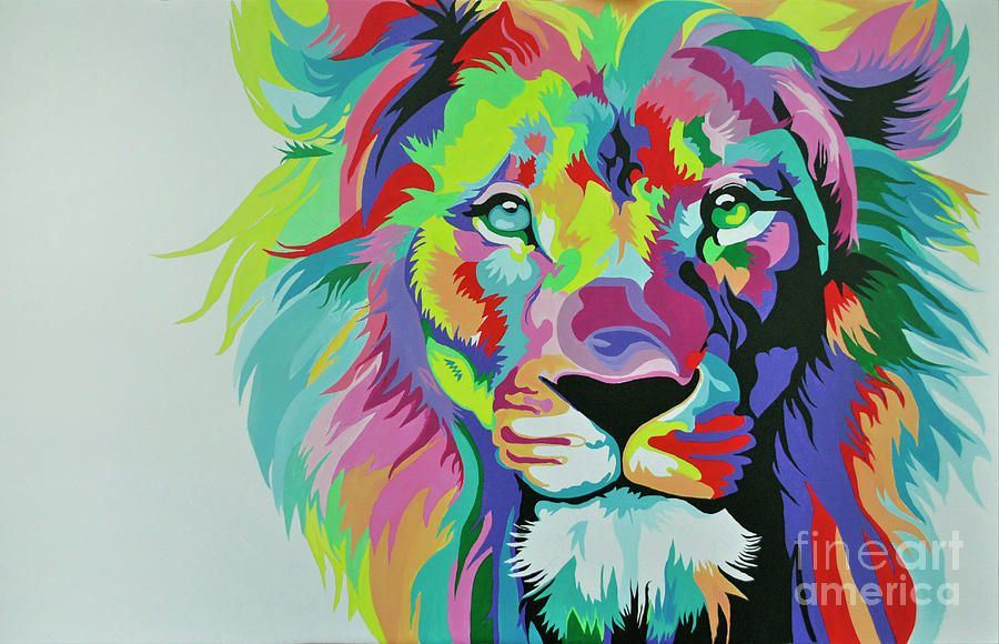 Colorful lion painting - photo#37