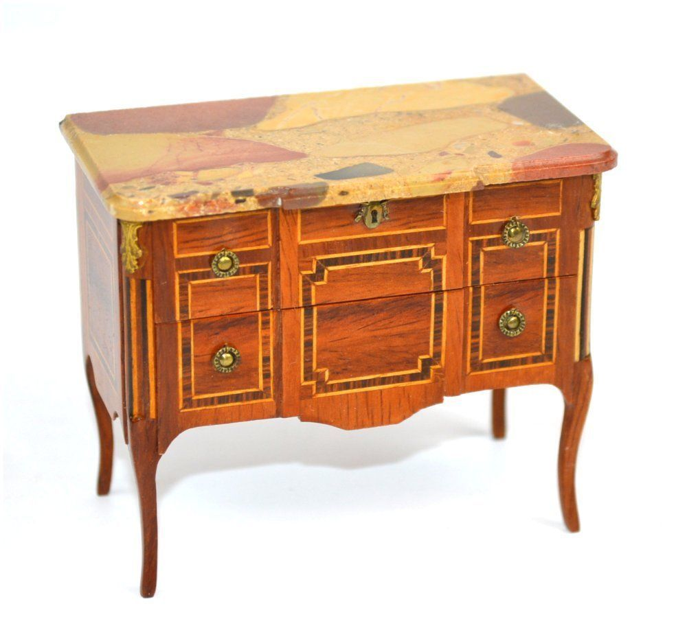 Miniature Herbillon Beautiful 2 Drawer Marble Top Wood Transition  # Meble Narcisse