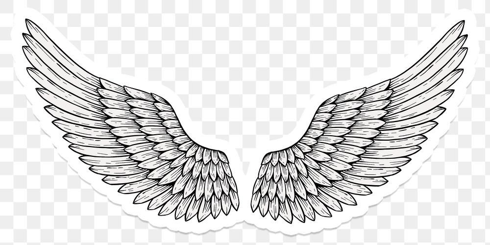 Angel Wings Outline Sticker Overlay With A White Border Free Image By Rawpixel Com Noon Angel Wing Outline Angel Wings Png Angel Wings Art