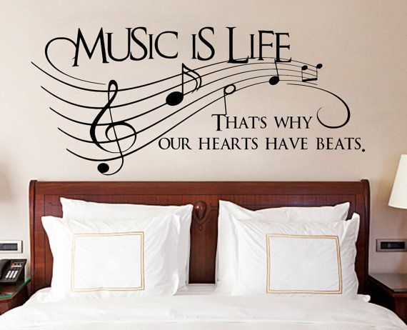 Vinyl wall decal quote music is life thats why our hearts have large vinyl wall world map decal removable detailed world map mural wall sticker wm002 gumiabroncs Choice Image