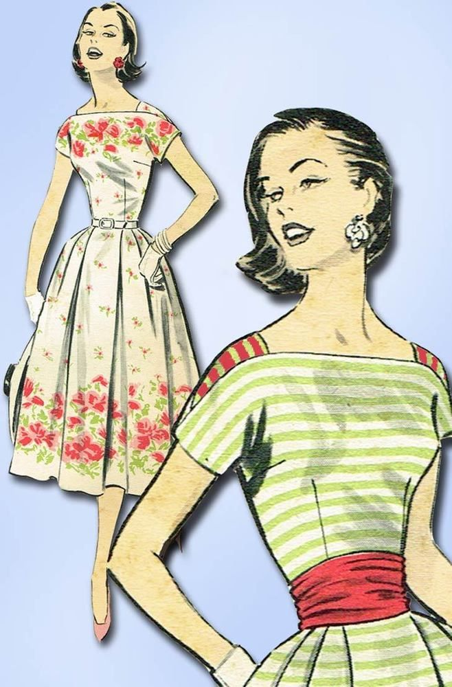 1950s Vintage Advance Sewing Pattern 8268 FF Misses Border Print ...