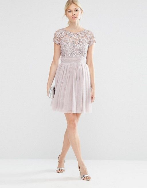 a4141205711f4 Little Mistress Petite | Little Mistress Petite Short Sleeve Lace Bodice  Mini Dress With Tulle Skirt