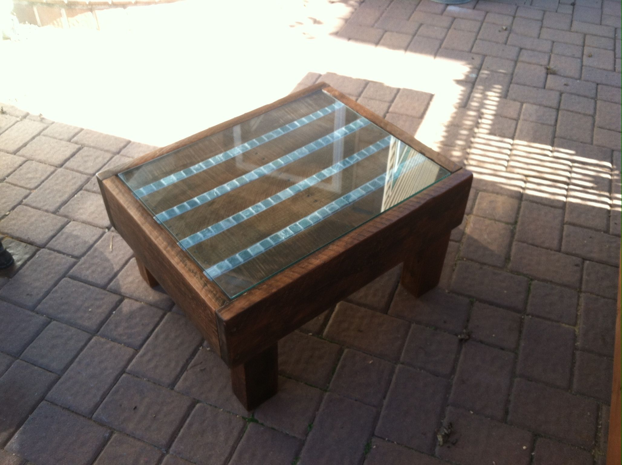 Coffee Table Made From Scaffolding And Pallet Wood Stained Varnished 1x1 Slate Tile Stripes