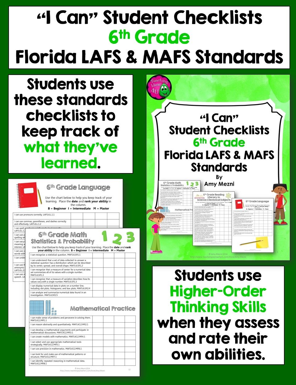 I can student checklists for florida lafs mafs standards 6th i can student checklists for florida lafs mafs standards 6th grade students use these checklists to assess and rate their learning fandeluxe
