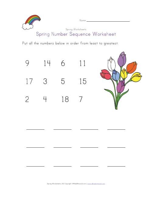 Spring Number Sequence Worksheet Childrens Worksheets Pinterest