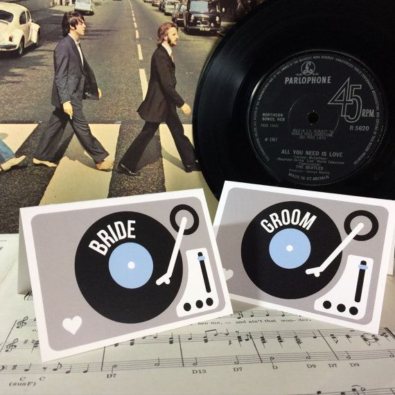 Wedding Party Name Place Cards Turntable Vinyl Record