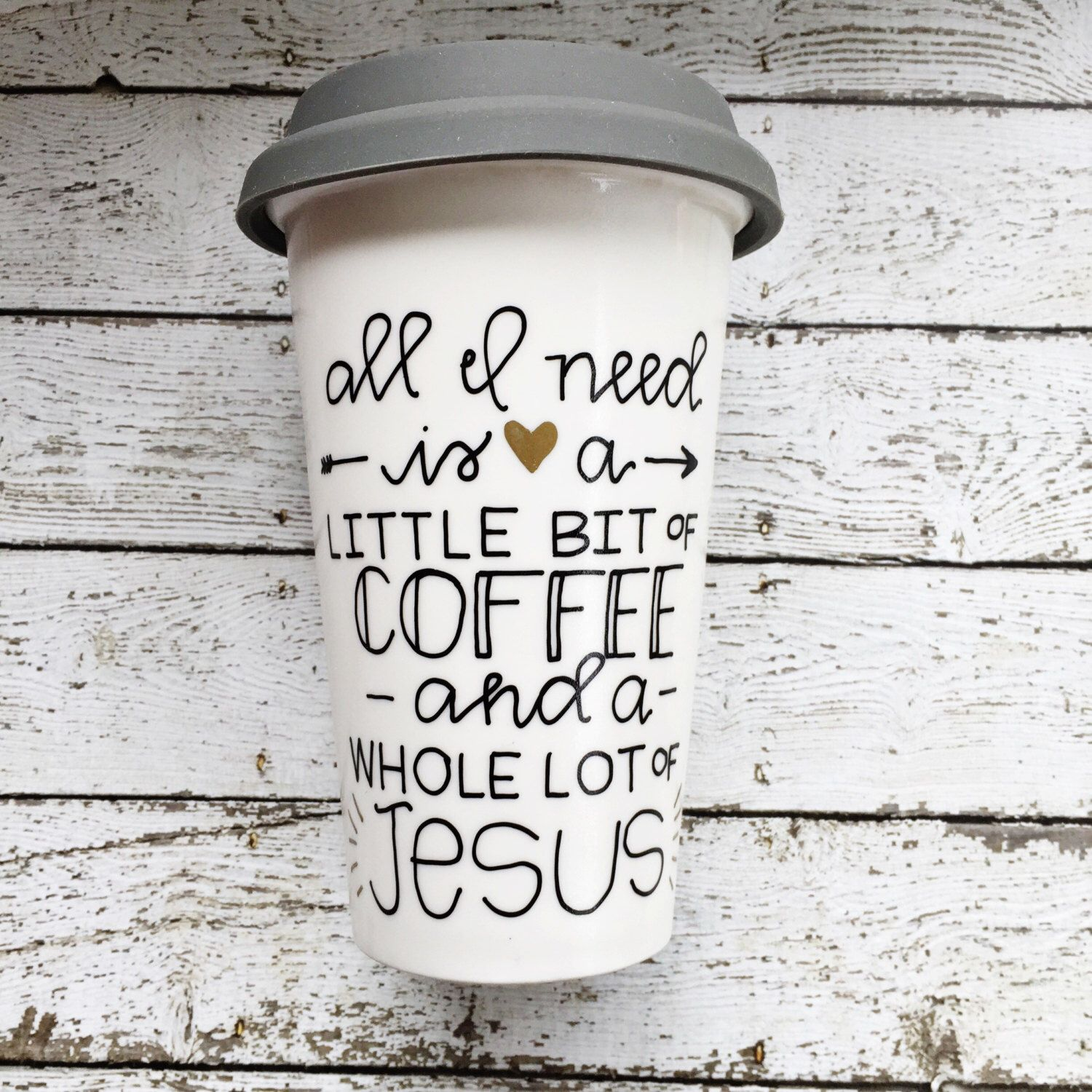 A Little Bit Of Coffee And Whole Lot Hand Painted Mug Travel