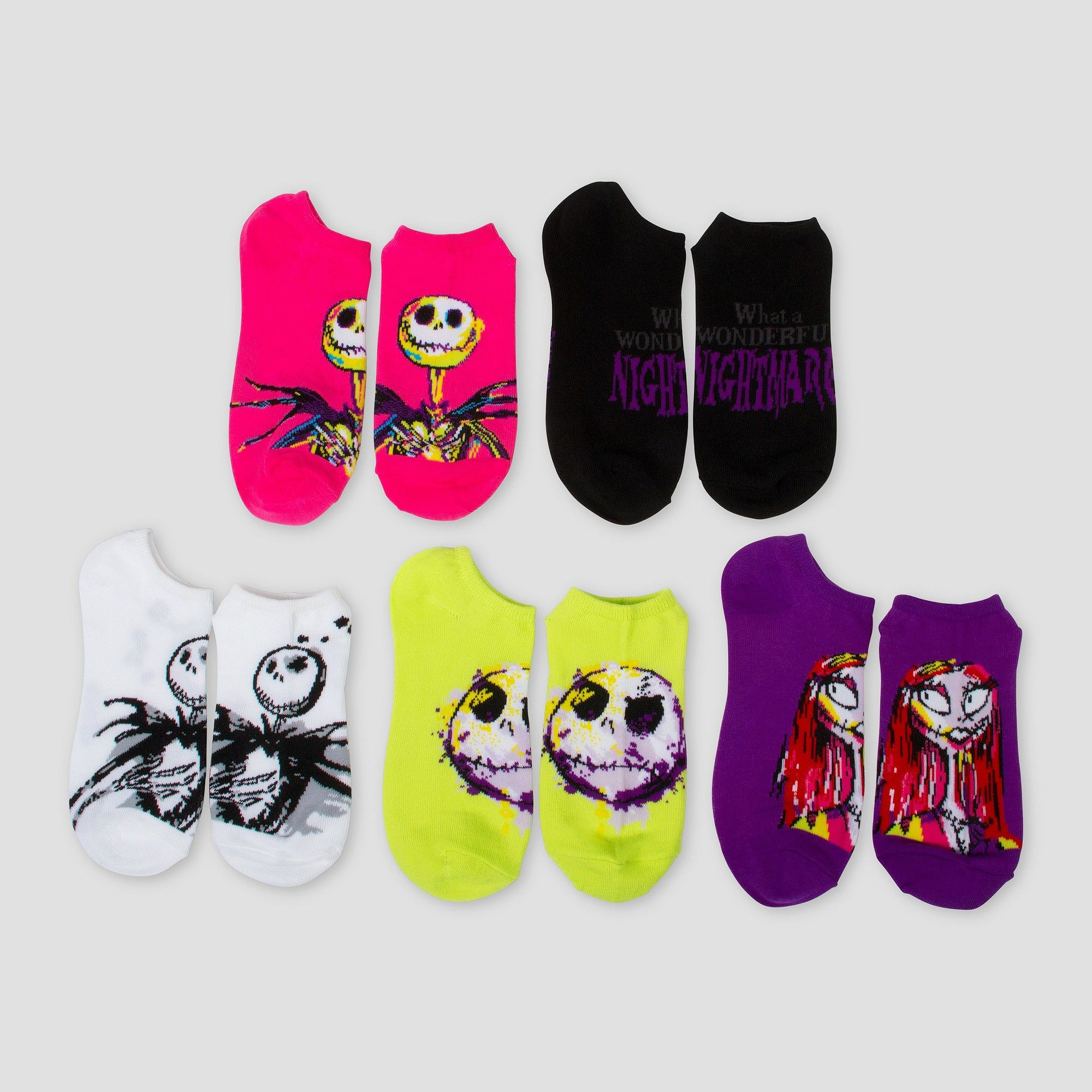 Women\'s The Nightmare Before Christmas Low-Cut 5-Pack Socks ...