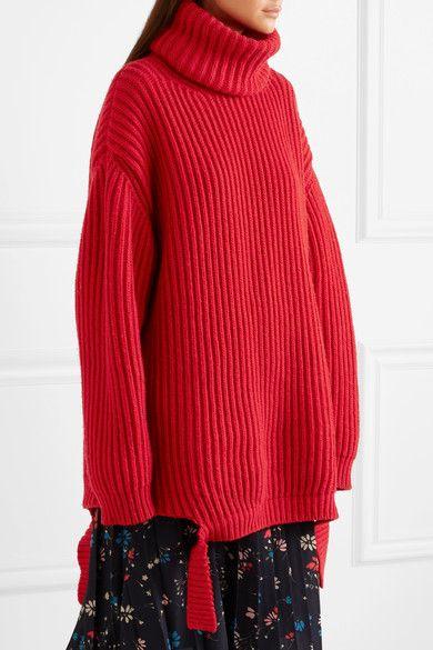 1ec2c546aa Balenciaga - Oversized Ribbed Wool Turtleneck Sweater - Red