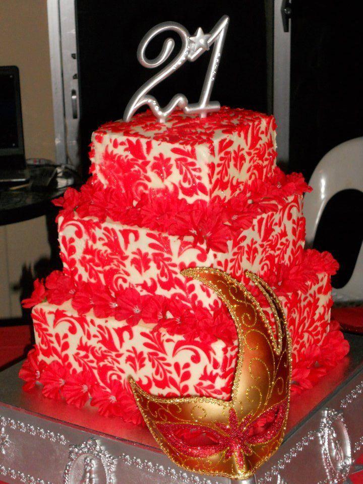 21st birthday cake i made for my daughter Dark chocolate mud cake