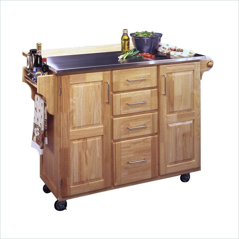 Home Styles Stainless Steel Kitchen Cart With Breakfast Bar In Natural Finish Kitchen Cart Stainless Steel Kitchen Island Kitchen Island On Wheels