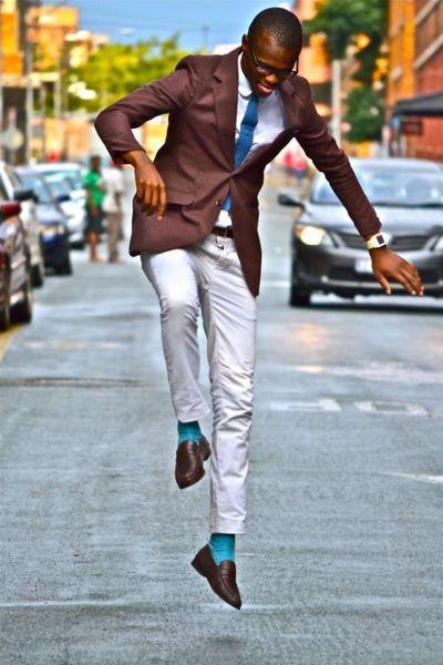 101465386defc wow, he rocked it! brown blazer,gray/off white pants, teal socks and tie  #men's attire