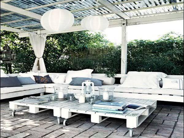 Faire un salon de jardin en palette | Banquette, Jardins blancs et ...