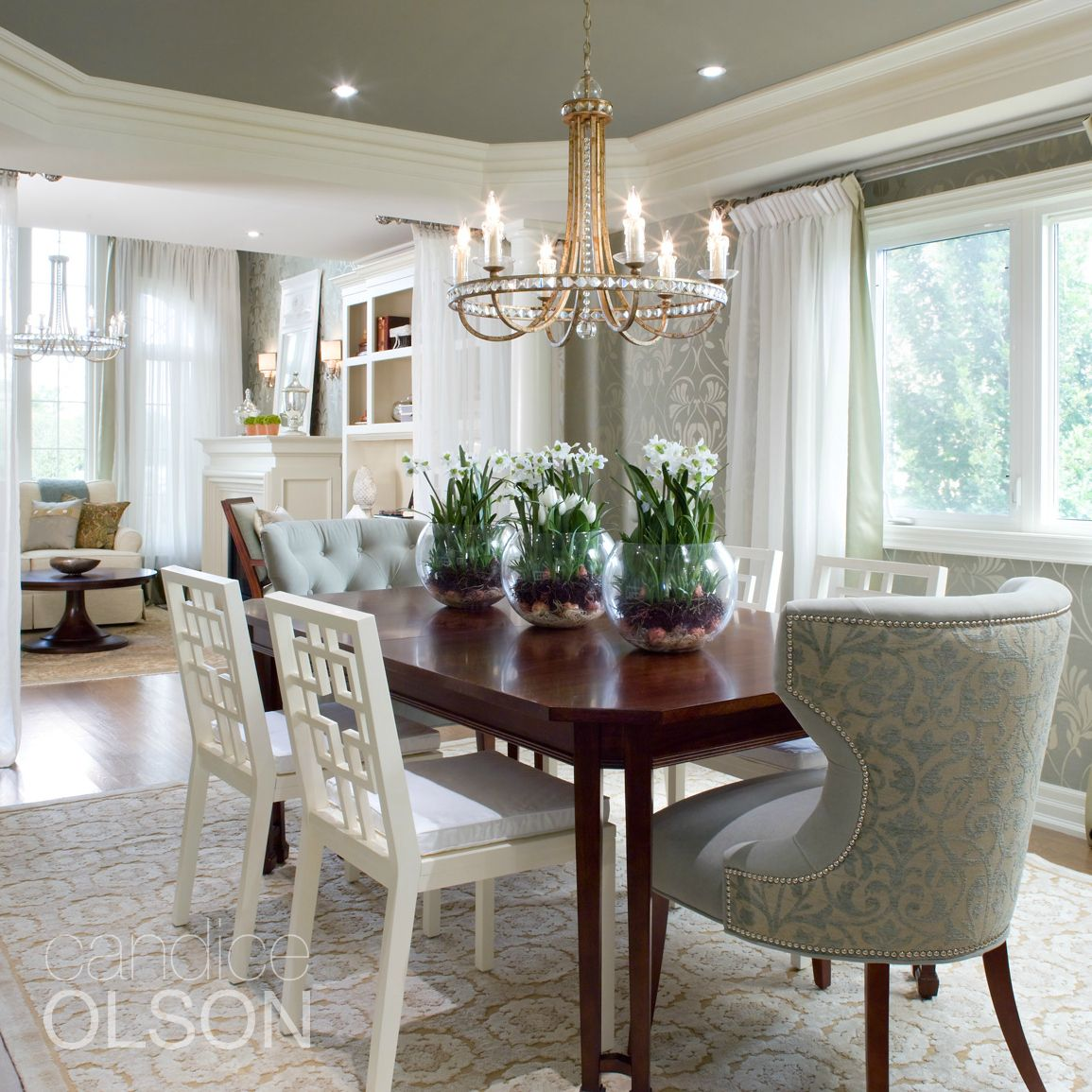 Condo Dining Living Room Design Ideas: A Calming Gray-green Palette Throughout This Home Is
