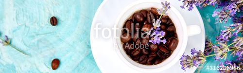 Banner with Grain Coffee in cups and lavender flower on blue background from above