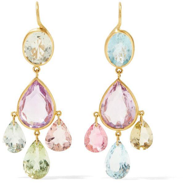 Marie-Hélène de Taillac 22-karat Gold Multi-stone Earrings TX8co7um