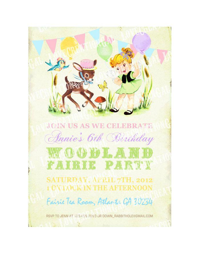 Woodland Animals / Fairy / Girl / Deer / Birthday Party Invitation ...