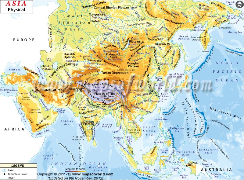 Map Of Asia Rivers And Seas.Asia Physicalmap Showing Rivers Lakes Mountains And Borders Of