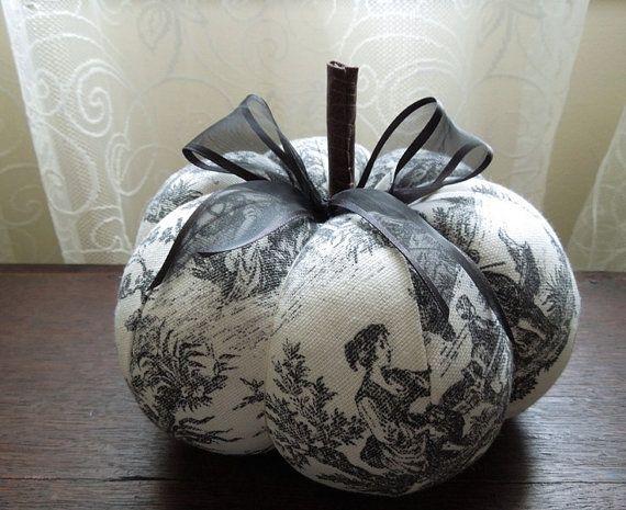 Black Toile Decorating: Black And White Toile Pumpkin Decorative Autumn Fall Decor