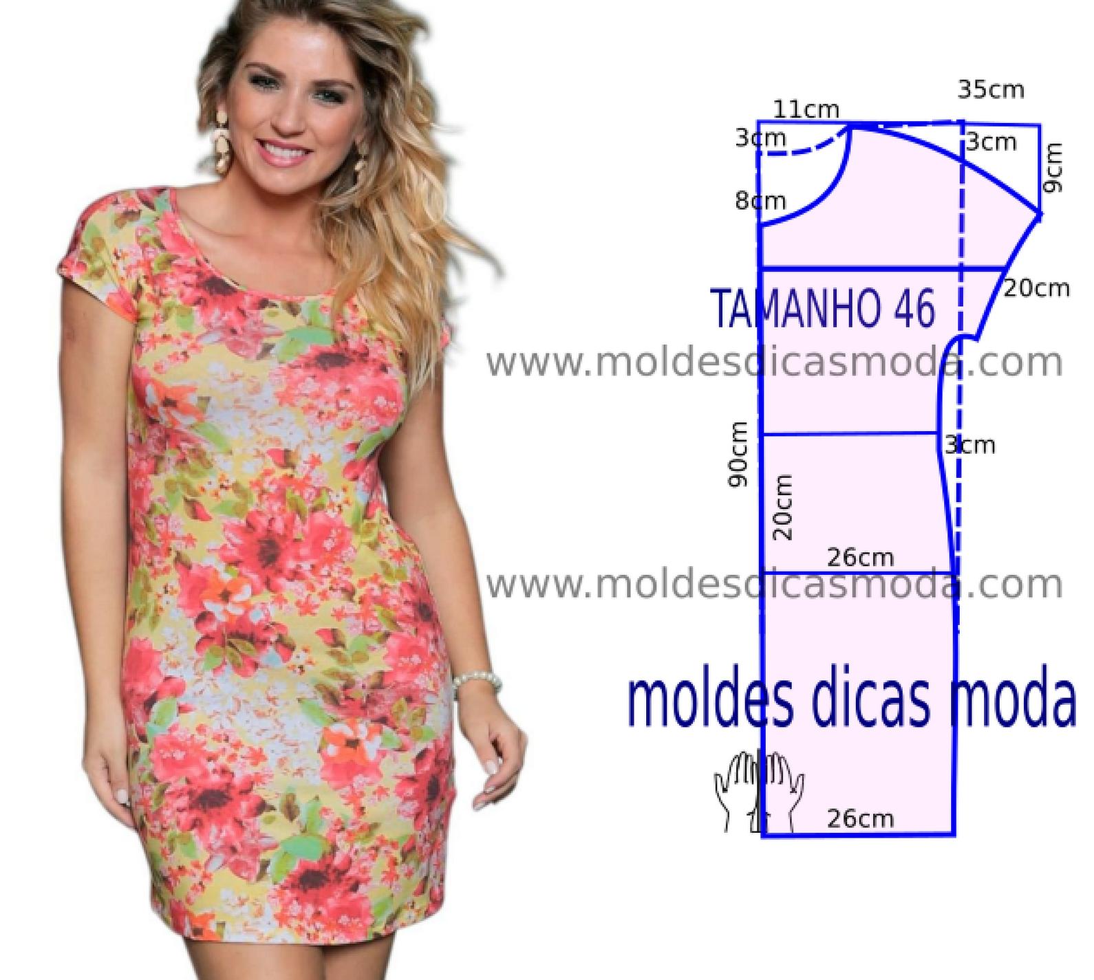 Vestido casual florido simples - Moldes Moda por Medida | Vestidos ...