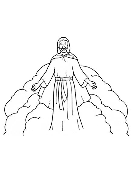 A Black And White Illustration Of Christ Wearing A Robe During