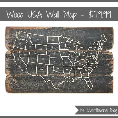 Reclaimed Wood USA Wall Map, World Market