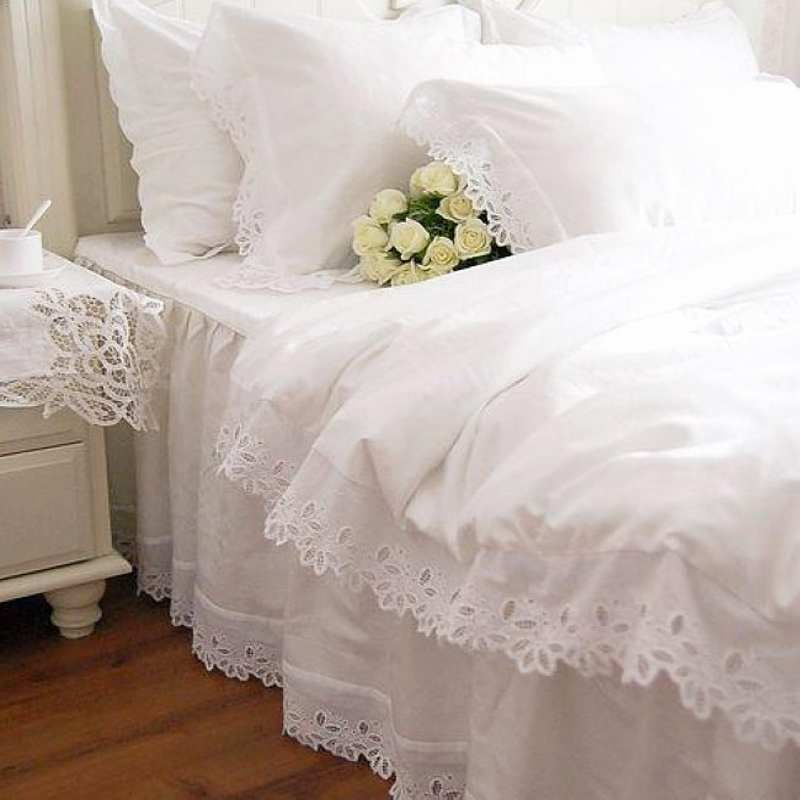 luxury white lace ruffles bedding twin full queen king cotton girl married a french princess home textile bedspread duvet cover to buy on aliexpress