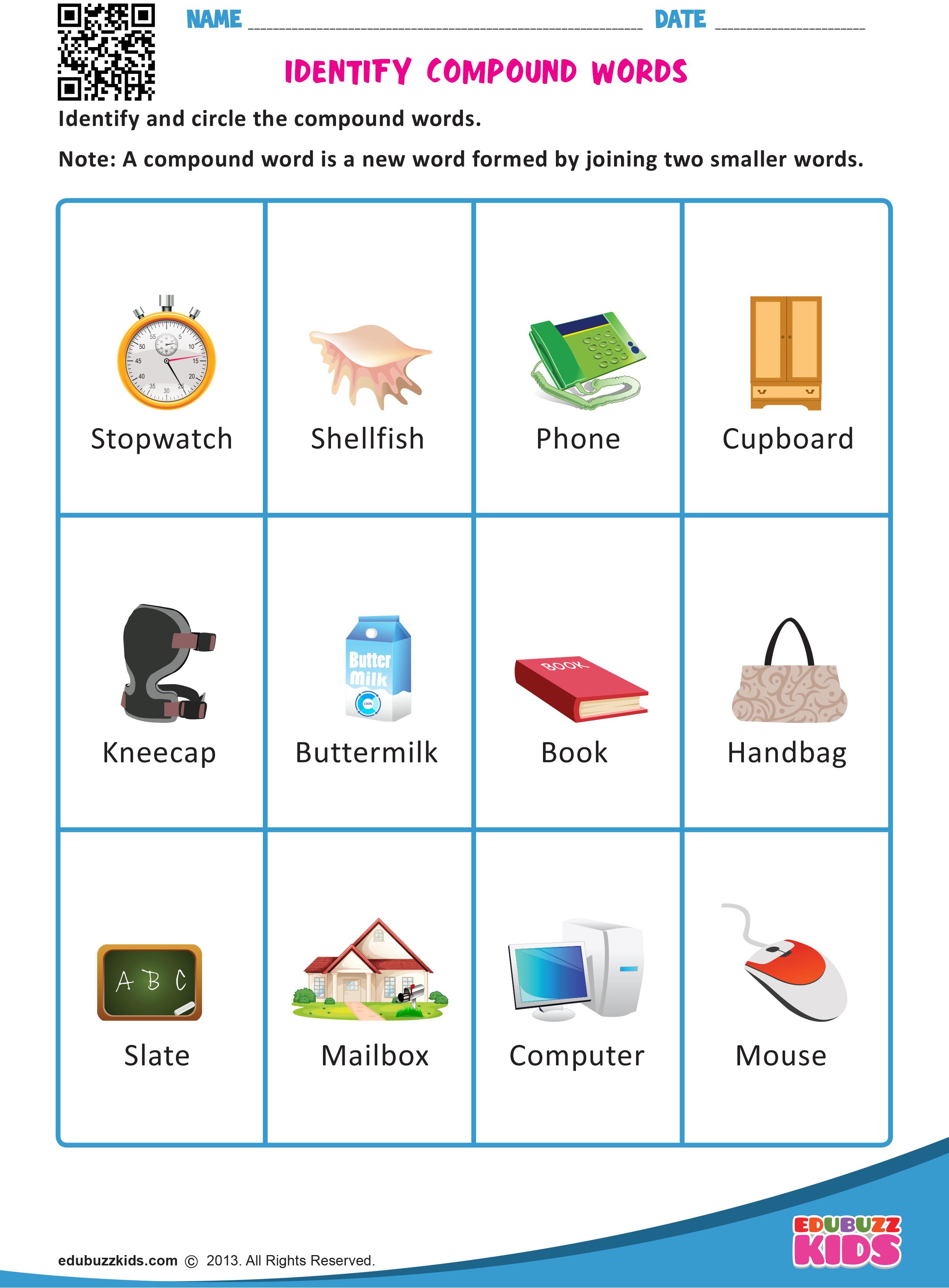 Kindergarten Identify Compound Words Worksheets That Allow