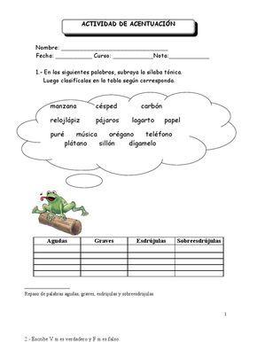 Resultado De Imagen De Practicas De Clasificación Acento Prosodico Y Ortografico Para Niños Clasificación De Palabras Agudas Graves Esdrujulas Palabras Agudas