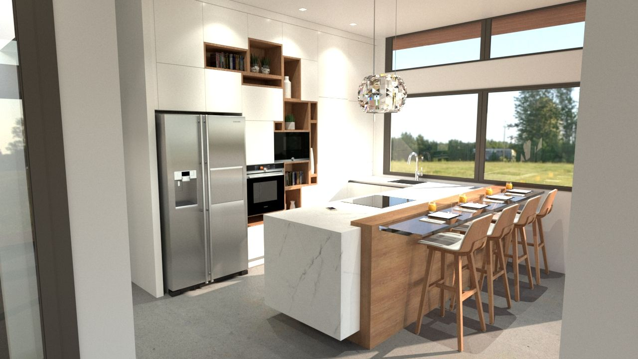 Concept cuisine design avec mobilier destructure en mur - Plan cuisine ilot ...
