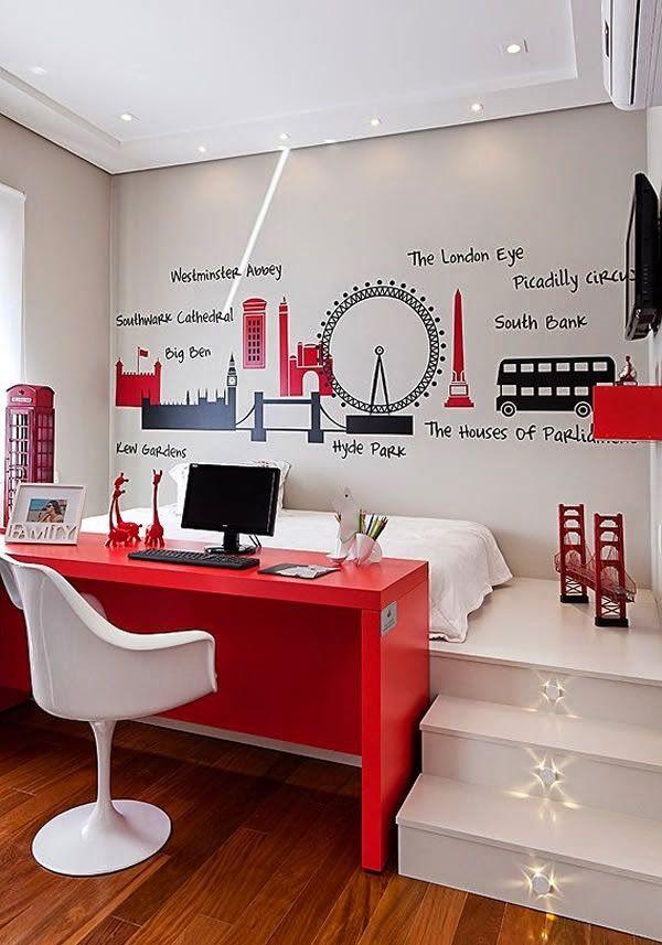 Bett-Schreibtisch-Kombi für Jugendliche Räume gestalten - schöner wohnen schlafzimmer gestalten
