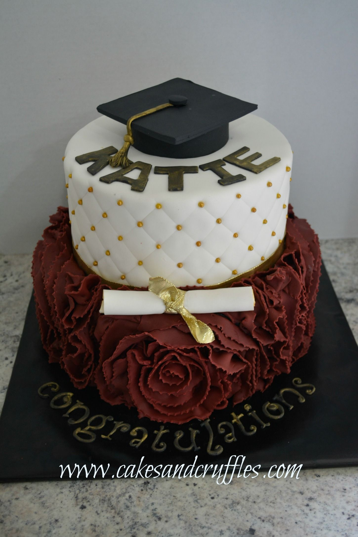 All fondant graduation cake. Top cake was fondant diamond ...