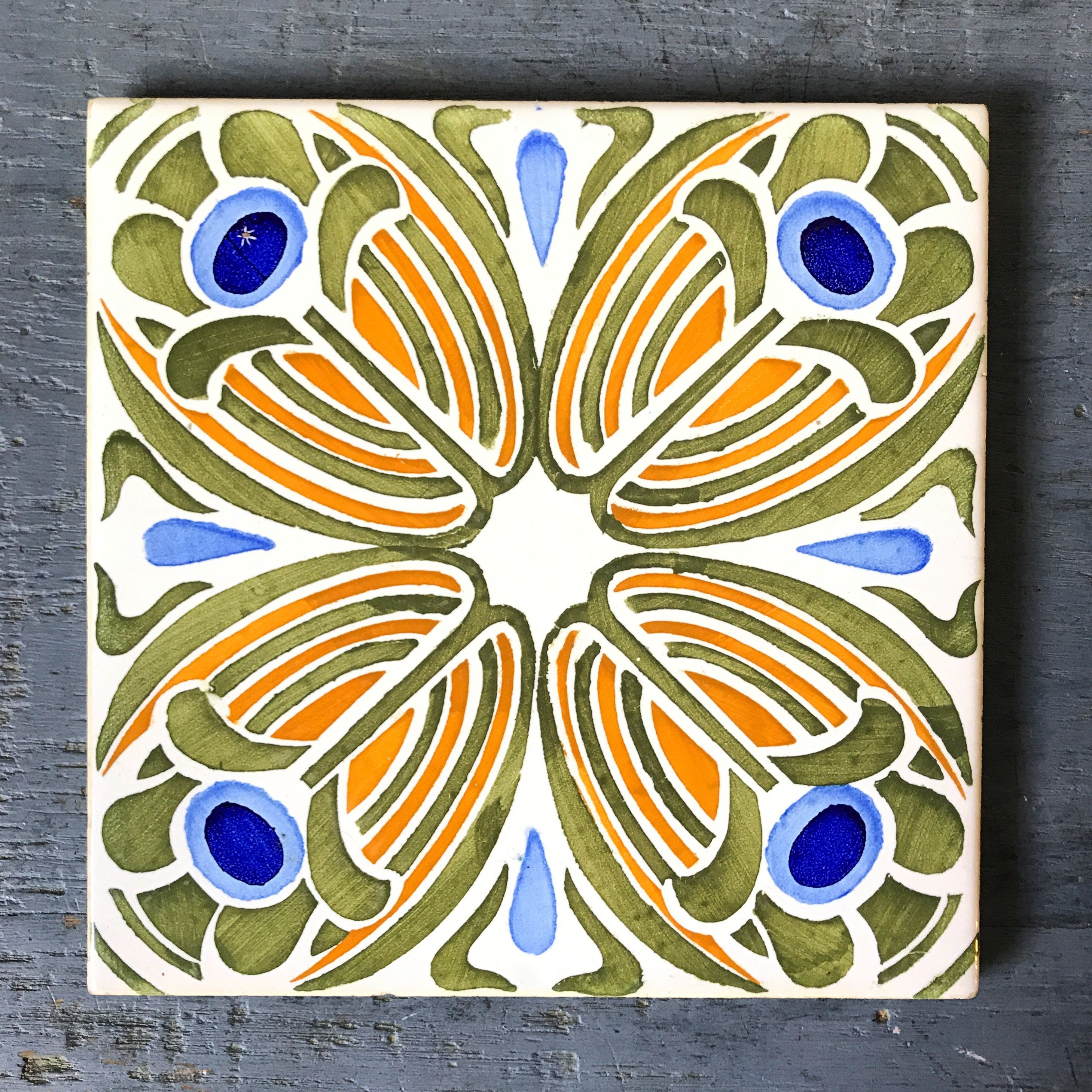 Vintage decorative tile hand painted ceramic trivet art nouveau vintage decorative tile hand painted ceramic trivet art nouveau flower orange blue green dailygadgetfo Image collections