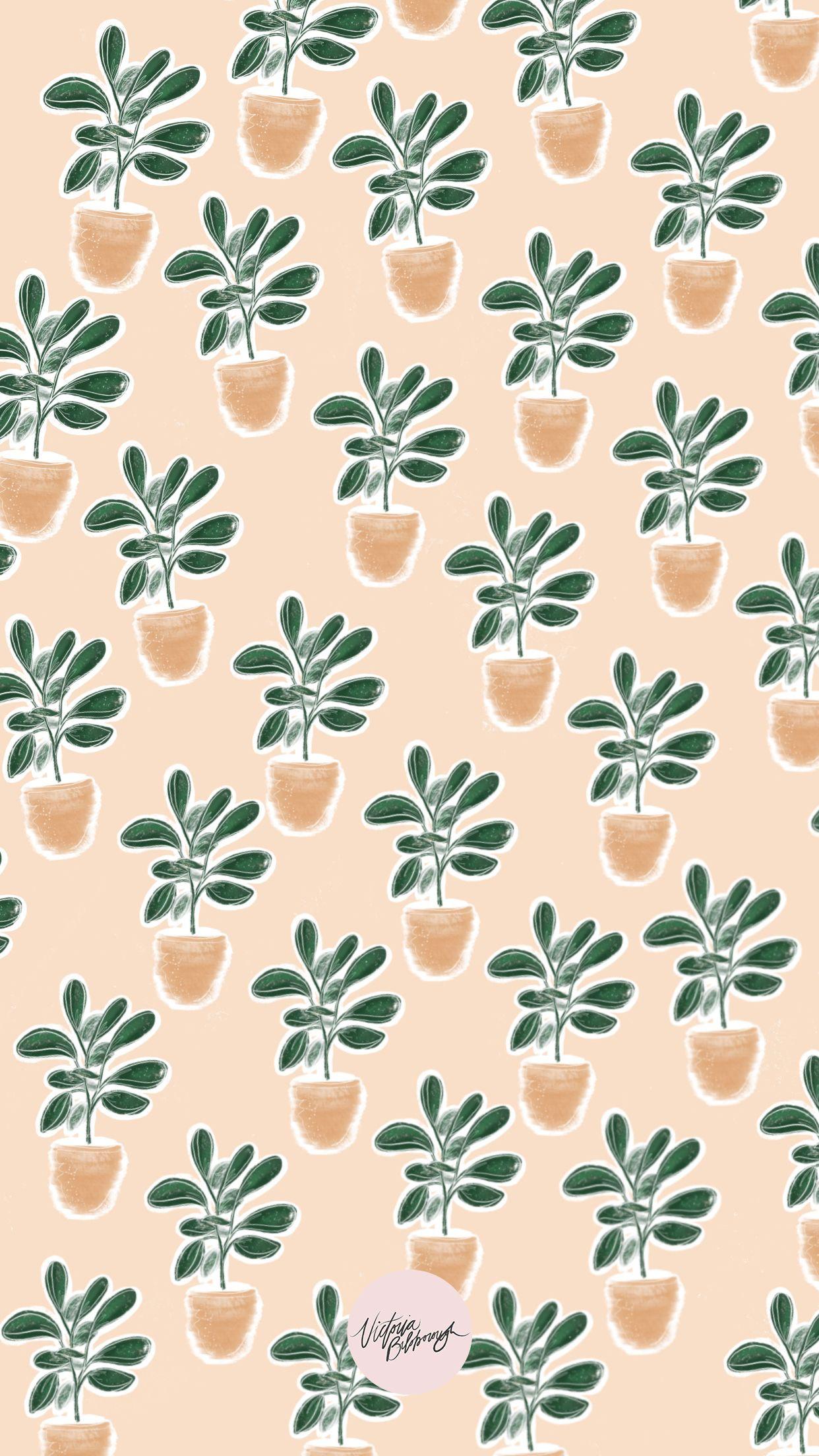 Fiddle Leaf Wallpaper By Victoria Bilsborough Wallpaper In 2019