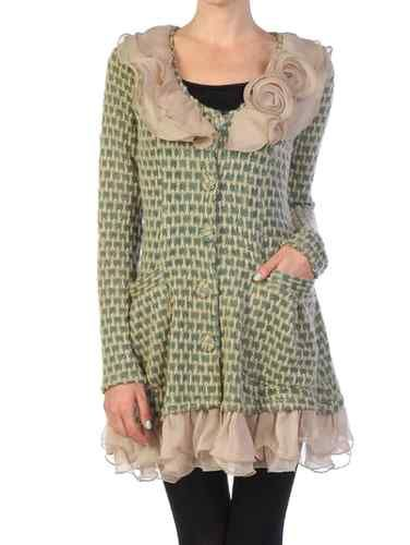 Anthropologie Ryu Boutique Ruffle Rosette Cluster Cardigan Sweater Dress  Coat M  7a0293b5c