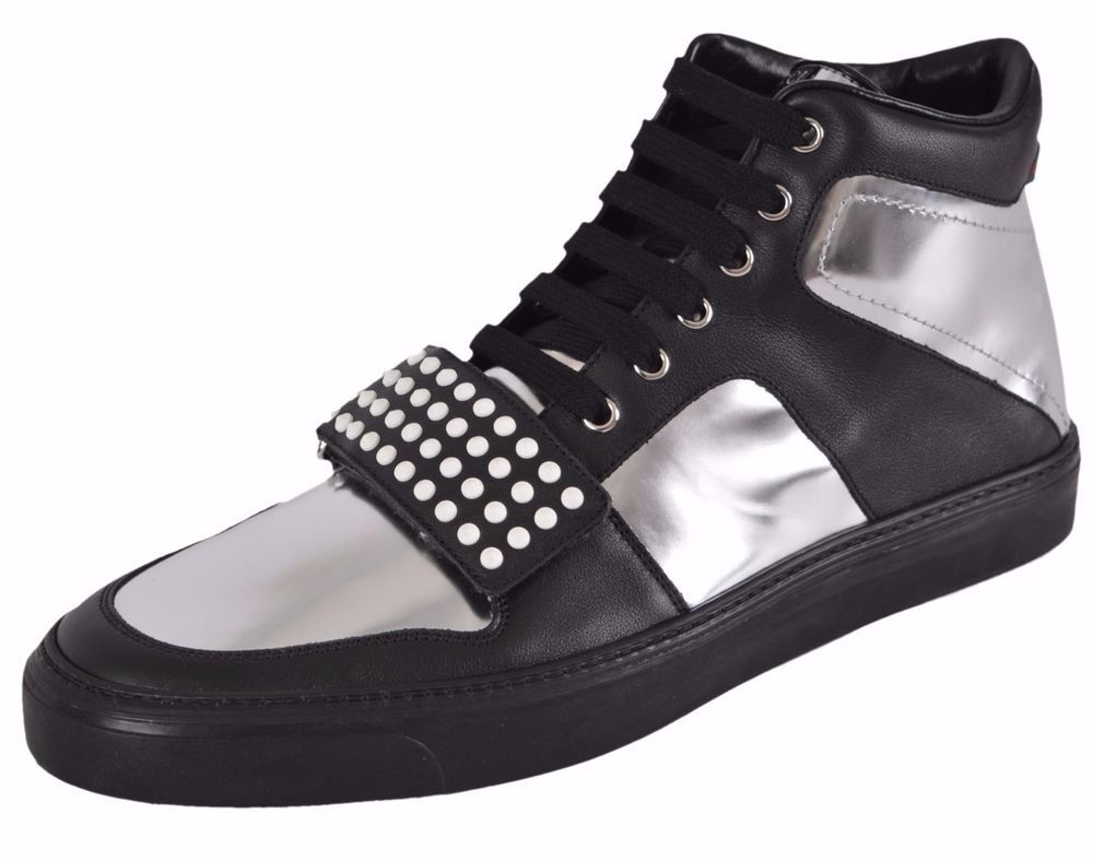 e700bd2fd NEW Gucci Silver Black Leather Limited Edition High Top Sneakers Shoes 11.5  G #Gucci #FashionSneakers