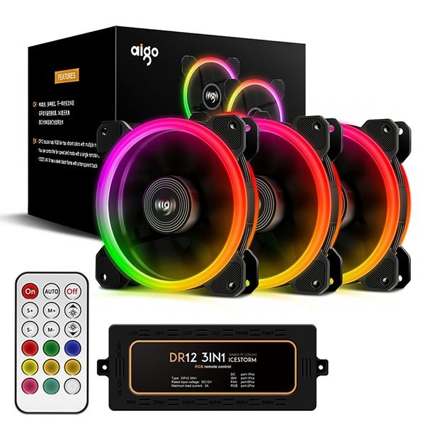 Aigo Aurora Dr12 3in1 Kit Case Fan 3 Pack Rgb Led 120mm Adjustable