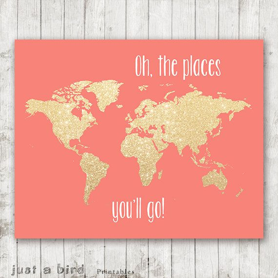 Oh The Places Youll Go PRINTABLE X Gold Glitter Nursery Map - 8x10 printable world map
