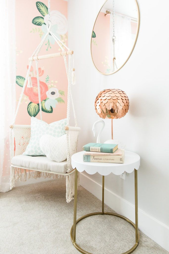 Floral Wall Girls Bedroom With Hanging Chair Swing Boho Style See The Whole Tour Hanging Chair Macrame Hanging