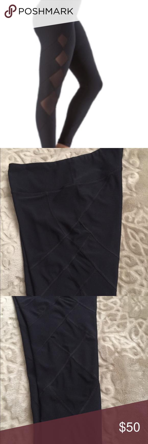 Nwot black diamond shape mesh full length leggings black diamonds