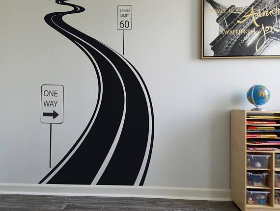 "Road Sign Wall Decor Entrancing 46""x80"" Road Road Sign Sticker Wall Vinyl Road Decal One Way Speed 2018"