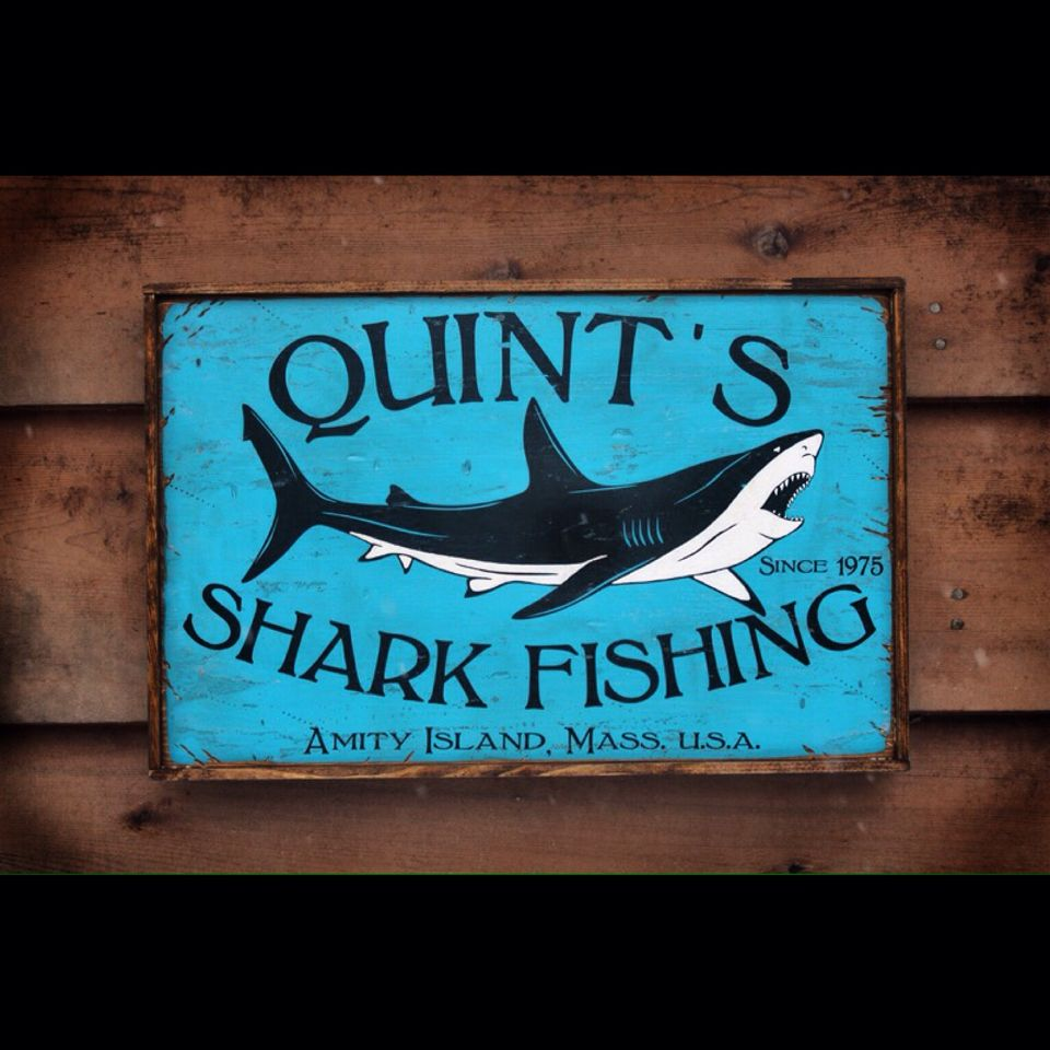 Vintage Quints Shark Fishing now with vintage frame!  https://www.etsy.com/listing/171696454/rustic-wooden-sign-quints-shark-fishing