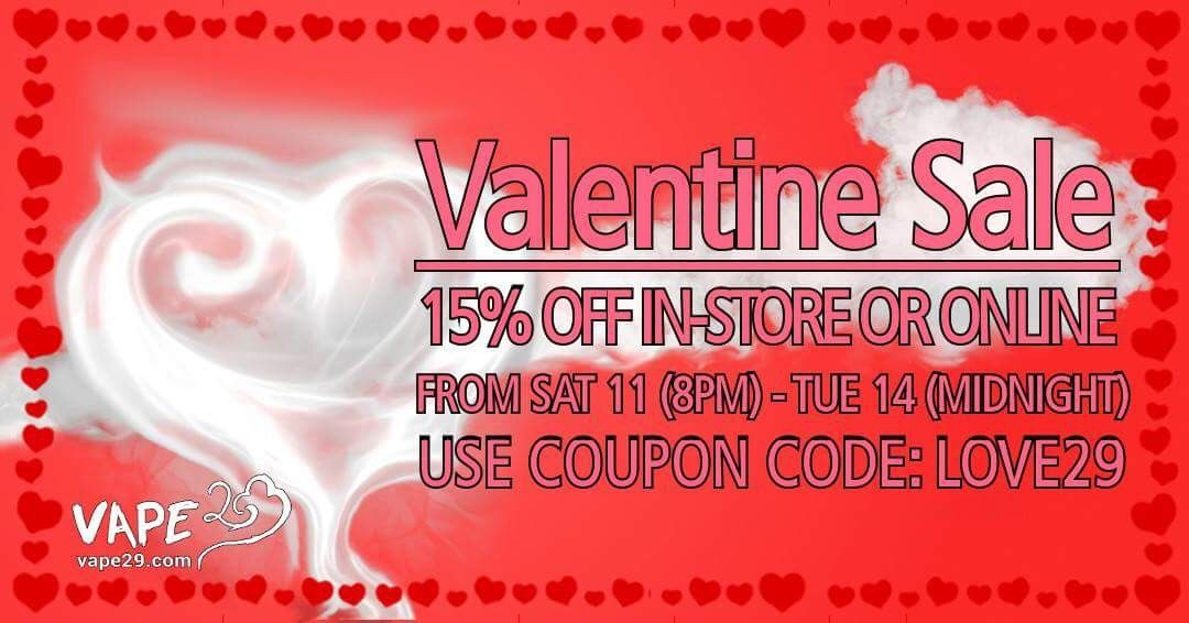 Valentines day + weekend sale! Get 15% OFF in-store or online ...