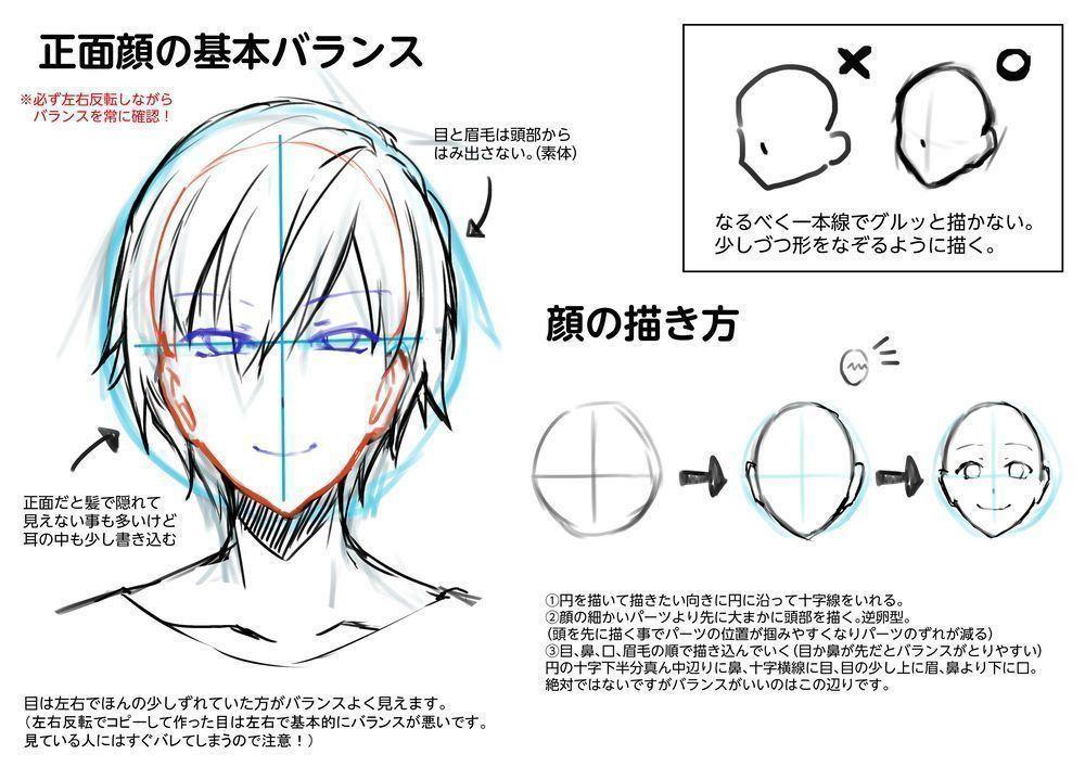 基本中の基本 正面顔の描き方 デッサンが崩れてないか左右反転させながらこまめに確認しましょう B 輪郭 描き方 描き方 顔の書き方