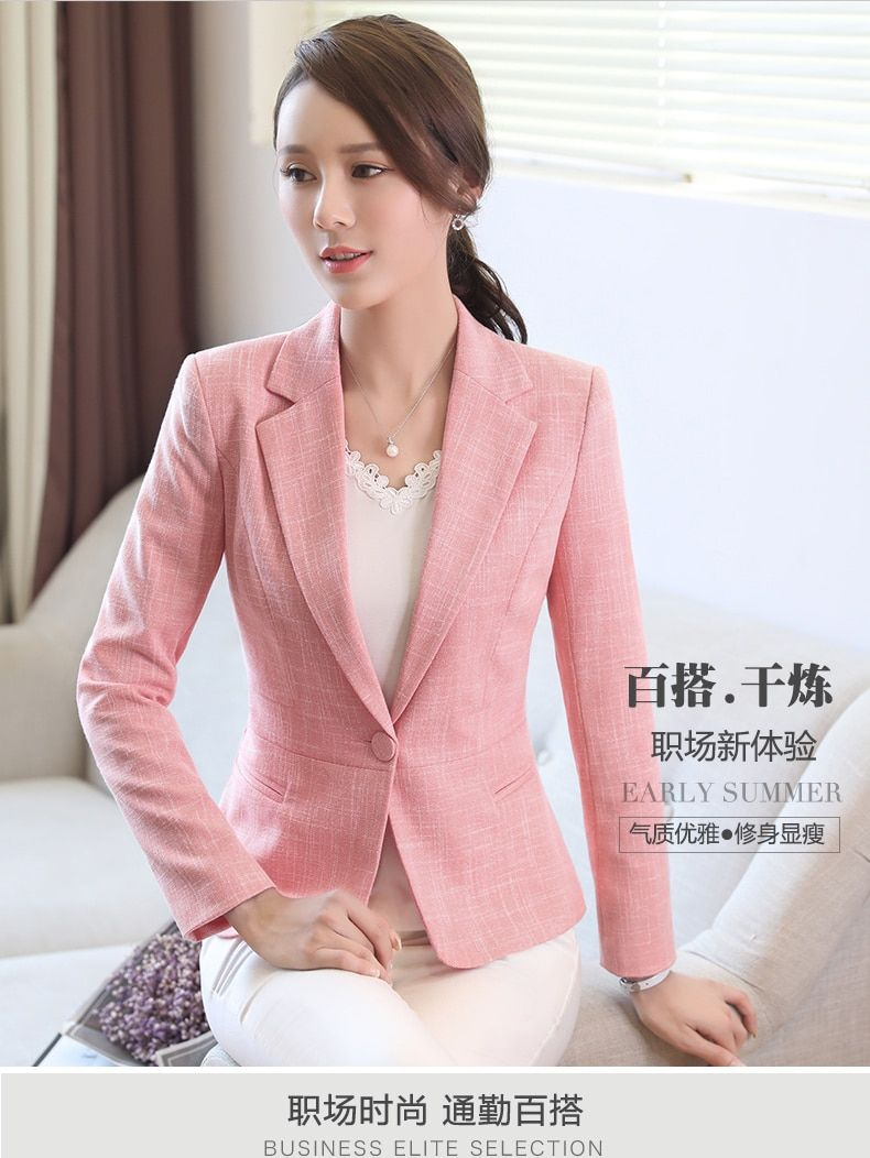 a6516e2c23db5 Cotton linen Casual blazer New spring fashion formal long sleeve slim women  pink jacket office ladies plus size work wear coat % - linen clothing store